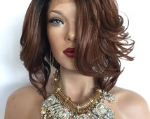 """Brown Ombre Curly lace front wig 10"""""""