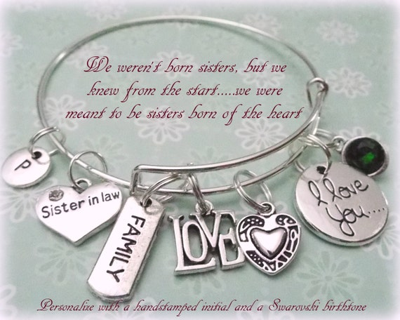 Wedding Gift For Sister In Law : Sister in Law Charm Bracelet, Gift for Sister in Law, , Wedding Gift ...