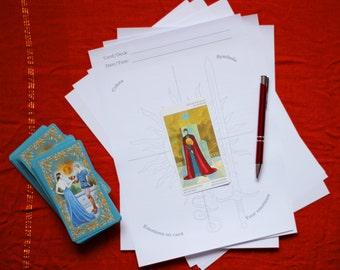 Tarot Card Cross Study Worksheet Second Variant Digital Printable