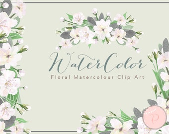 White Watercolor Flower, White Floral Wreath Clip art, Watercolor Floral Cliparts, PNG Clipart, floral Cliparts, Instant Download, WCA36