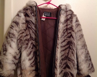 Striped Faux Fur Hooded Coat Jacket
