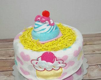 Cupcake diaper cake, girl diaper cake, baby shower for girl, pink diaper cake, baby sprinkle, Ready to Ship
