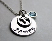baby footprint name necklace, baby footprint necklace, name necklace, mothers name necklace, baby name and footprint necklace, name jewelry