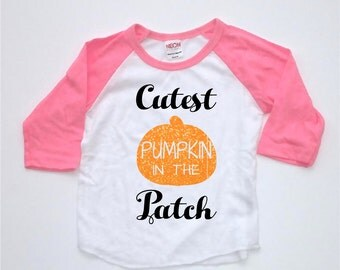 Thanksgiving Shirt - Cutest Pumpkin - In The Patch - Pink Glitter Raglan  - Thanksgiving Baby - Pumpkin - Halloween Shirt - Halloween