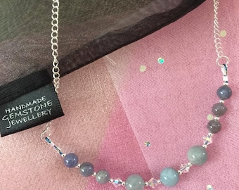 Tanzanite and Aquamarine 925 Sterling Silver Necklace