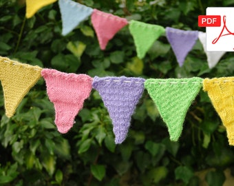 Easy Knitting Pattern: Bunting Flags - 5 different designs in one pattern