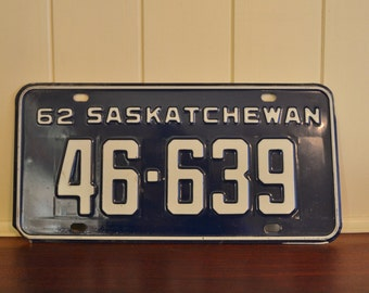 Vintage 1962 Saskatchewan Licence Plate - navy blue white - retro 1960s sask automotive - car truck man cave fathers day gift - canada
