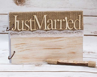 Wedding Guest Book Rustic Wooden Guest Book Guestbook Personalized Guest Book Pen Shabby CHic Wedding