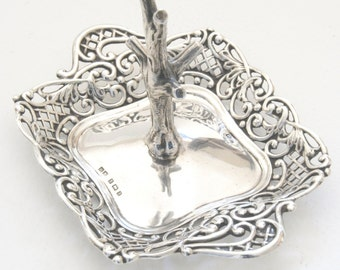 A Solid Silver Ring Tree 1900