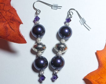 Purple and silver dangle earrings