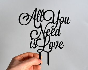 wedding cake topper, All You need is Love black Wedding Cake Topper, Cake Topper for wedding