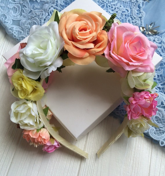 Rose crown / floral crown/ pink orange yellow flowers/ flower girl accessory/ rose jewerly