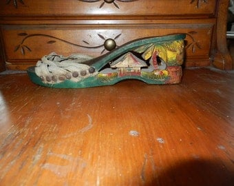 hand carved wooden shoe 1940's
