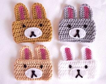 Coffee cup cozy, coffee cup sleeve, bunny coffee cup cozy, animal coffee cup cozy, crochet cozy, travel mug sleeve, kawaii bunny