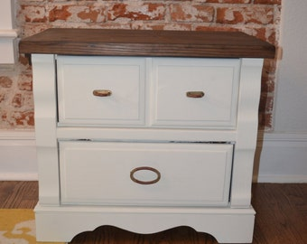 Refurbished Two Tone Nightstand White Accent table, Side table, End table