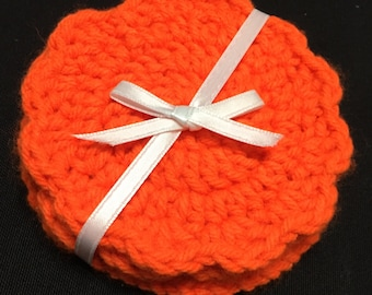 Crochet Face Scrubby, Face Scrubby, Set of 3, Cotton Face Scrubby, Clemson, Orange Scrubby