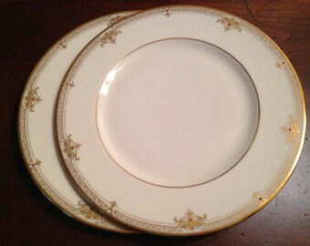 Lenox China 'Republic' Pattern Salad Plates - Set of 2 / Presidential Collection Dinnerware / Ivory, Gold & Ruby Jewel Dots