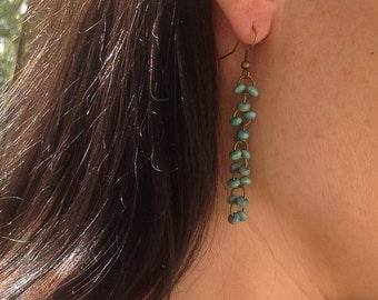 Distressed Brass cluster earrings with turquoise Wooden Beads