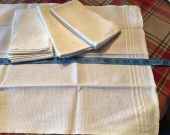 Four Large Vintage Cotton Tea Towels