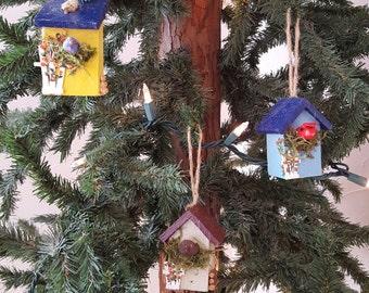 Handmade, hand painted bird house tree ornaments