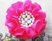 Crystals and Pearls - large dark pink hair flower, chiffon, hair clip, magenta, rose