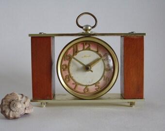 Vintage Soviet clock  retro clock  teal clock for home decor  USSR clock  Vintage russian clock  old desk clock  Soviet Clock