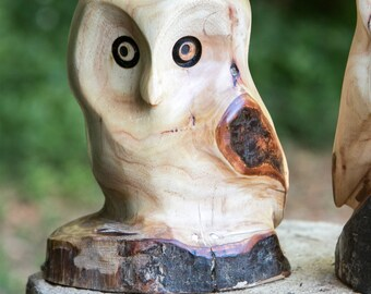 Cute little Owl Wood sculpture from Birch wood, chainsaw carving, Owl chick