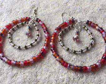 Reduced - Colourful beaded memory wire 2 tier hoop earrings