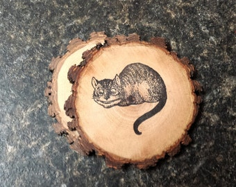 Cheshire Cat from Alice in Wonderland Natural Wood Coaster Set of 2