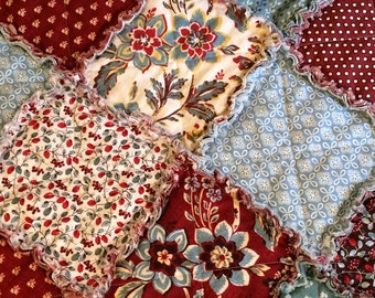 Rag Quilt – Red, Blue, Green, Yellow, White, Brown, Burgundy – Throw Rag Quilt – 1800s Reproduction Fabric - Handmade - Ready to Ship