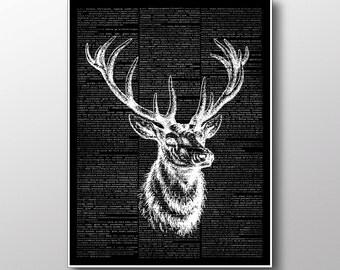 Dear Print, Elk Poster, Animal Decor, Dictionary Book ZA142