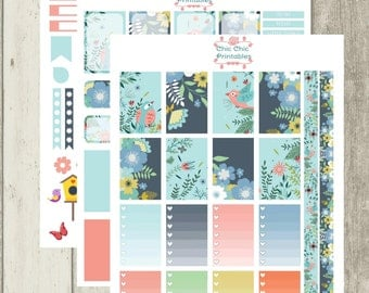 Hello Spring Theme Stickers For Happy Planner(3 sheets) {INSTANT DOWNLOAD}