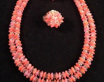 Vintage Hobé Flower Petal-Bead (Art Glass) Demi Parure - Stunning Salmon Peach Necklace and Earring Set - 52