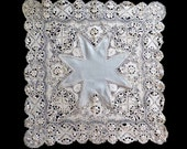Antique silk lace handkerchief. Maltese lace. 19th Century