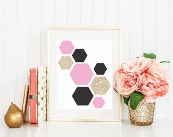 Pink, Black, and White Gold Glitter Hexagon Art Printable - Instant Download - High Resolution JPEG & PDF