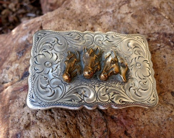 HORSES SILVER BUCKLE, Hand engraved, Diablo Silver Company, Sterling