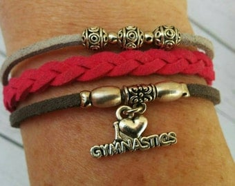 Gymnastics Charm Bracelet// Pink & Gray Friendship Bracelet// Girl's Sports Bracelet// Gymnastics Gift// Choose ONE Charm and Cord Colors