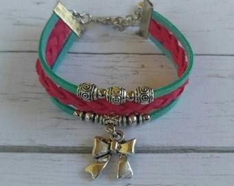 Cheer Charm Bracelet// Pink & Teal Friendship Bracelet// Girl's Sports Bracelet// Cheerleader Gift// Choose ONE Sports Charm and Cord Colors