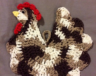 Crocheted Chicken Hot Pad