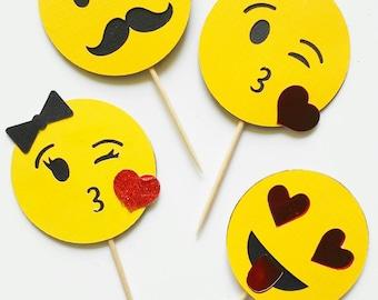 Emoji Cupcake Toppers. 30th Birthday. Celebration. Valentines Day. Emoji Party. Emoji Decor. Emoji Fun.