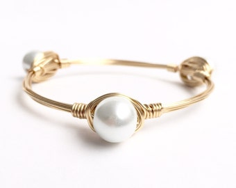 White Pearl Wire Bangle, Bangle, Bracelet, Iwre Babgle, Bourbon and Boweties Inspired