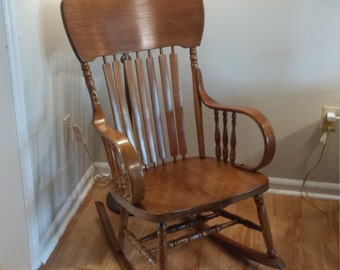 Antique Oak Bentwood Rocker / Rocking Chair