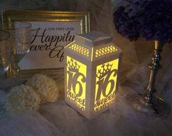Sweet 16 Centerpiece / Die Cut Paper Luminaries / Sweet 16 Decorations / Paper Lanterns / Quinceanera / Sweet Sixteen / Sweet 16 Luminaries