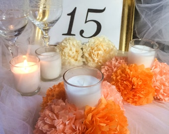 Tissue Paper Flowers - Set of 4 (16 pc flowers) - Set of 6 (24 pc flowers) / Tissue Pom Poms / Candle Holder - Apricot & Peach