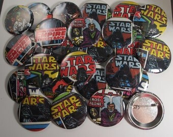 25  Upcycled Star Wars Buttons - Star Wars Party Favors - Star Wars Birthday Party - Star Wars Guest Favors - Star Wars Party - Party Button