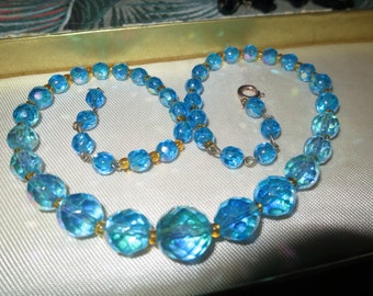Vintage 1950s faceted turquoise blue aurora borealis glass necklace