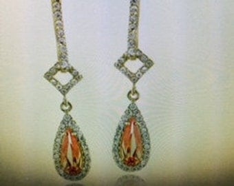 1CZ 18k Gold over Sterling Silver Champagne Cubic Zirconian Teardrop Dangle Earrings