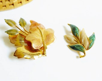 Two Leaf Pin Brooch Set w/Autumn Green,Gold,Cream Enamel