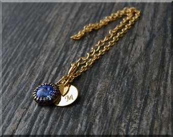 Gold September Sapphire Birthstone Bracelet, Initial Charm Bracelet, Personalized Bracelet, September Birthstone Charm, Swarovski Sapphire