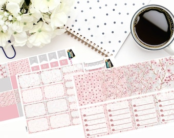 Planner Stickers  Cherry Blossom Themed Weekly Sticker Kit Weekly Sticker Kit Spring Sticker Kit  CB001-V-CB003-V